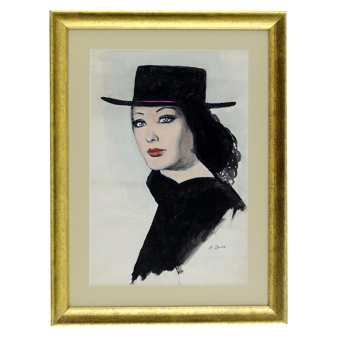 """ALFRED OPISSO CARDONA. Dibujo a tinta y acuarela. """"""""Mujer con sombrero"""""""""""