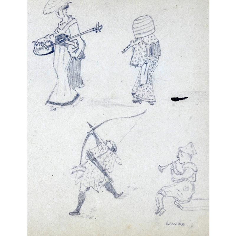 AMODEO. Escuela Italiana Siglo XIX. Agrupación de 8 bocetos a lápiz.