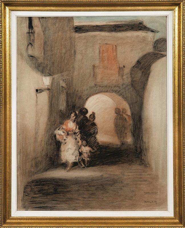 """ANDRÉS MARTÍNEZ DE LEÓN. Dibujo a plumilla y colores. """"Rincón Sevillano, 1951""""."""