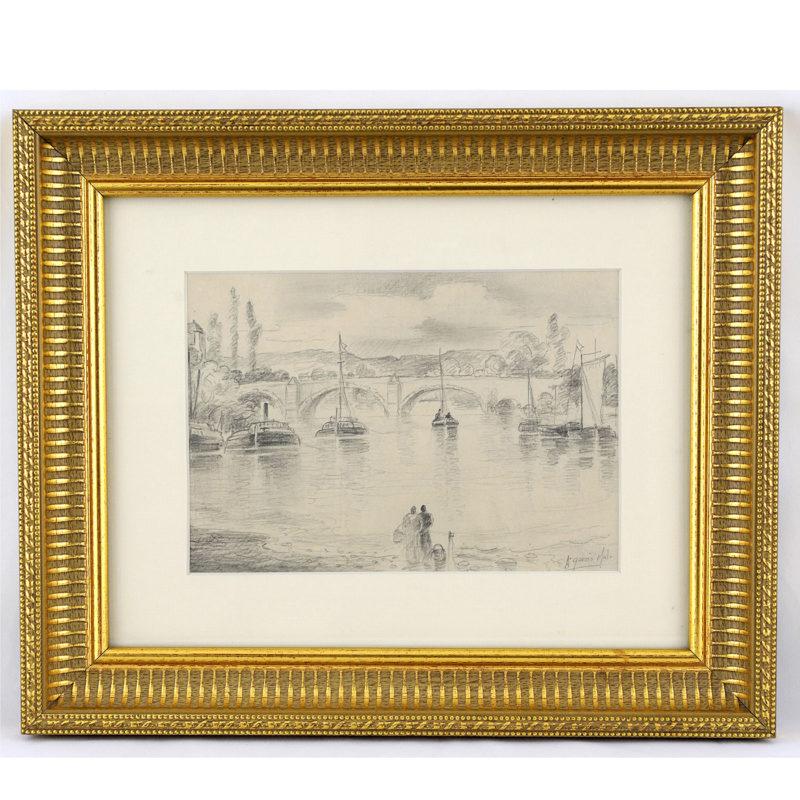 """ANTONIO GARCÍA MALO. Dibujo a lápiz. """"""""Puente sobre el río Sena"""""""