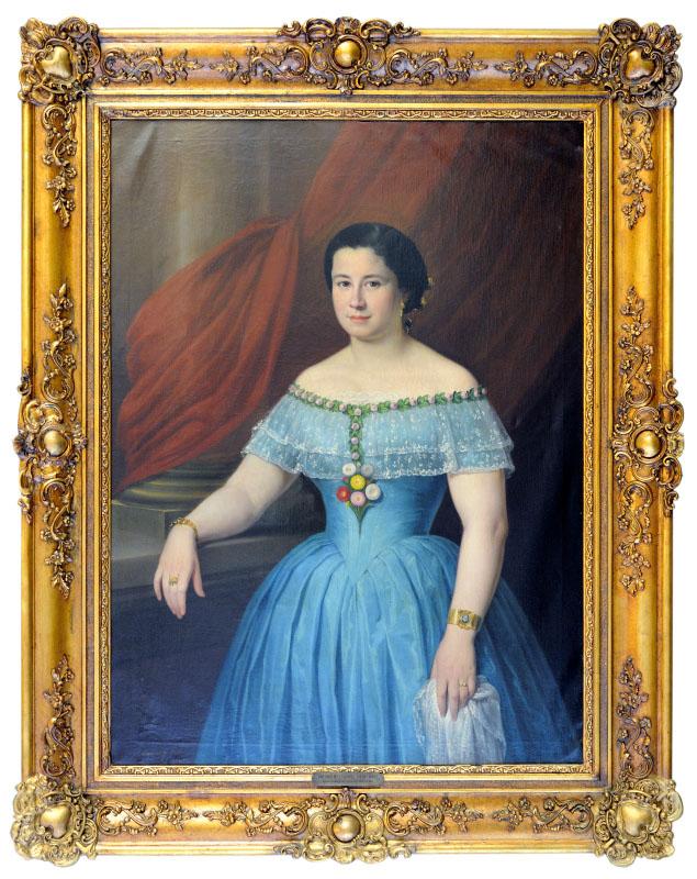 """ANTONIO MARÍA ESQUIVEL Y SUÁREZ DE URBINA. Óleo Sobre lienzo. """"Retrato de Matilde Díaz"""""""