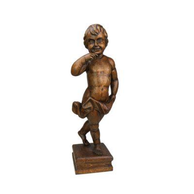 """C. WESTDIJK (Países Bajos). Escultura Barroca en madera. """"Angelote"""". Ca. 1939."""