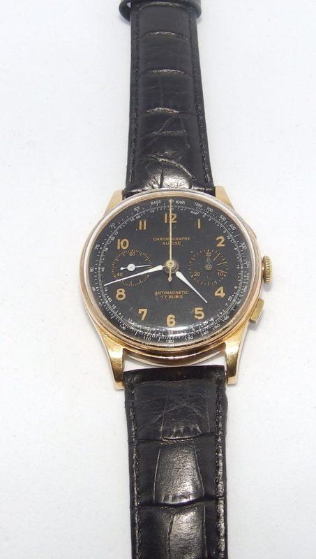 CHRONOGRAFFE SUISSE. Reloj cronógrafo de pulsera para caballero. Ca. 1955