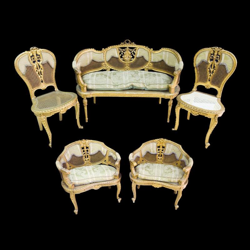 Conjunto de sillon, sillones y sillas estilo Luis XV. Siglo XIX.