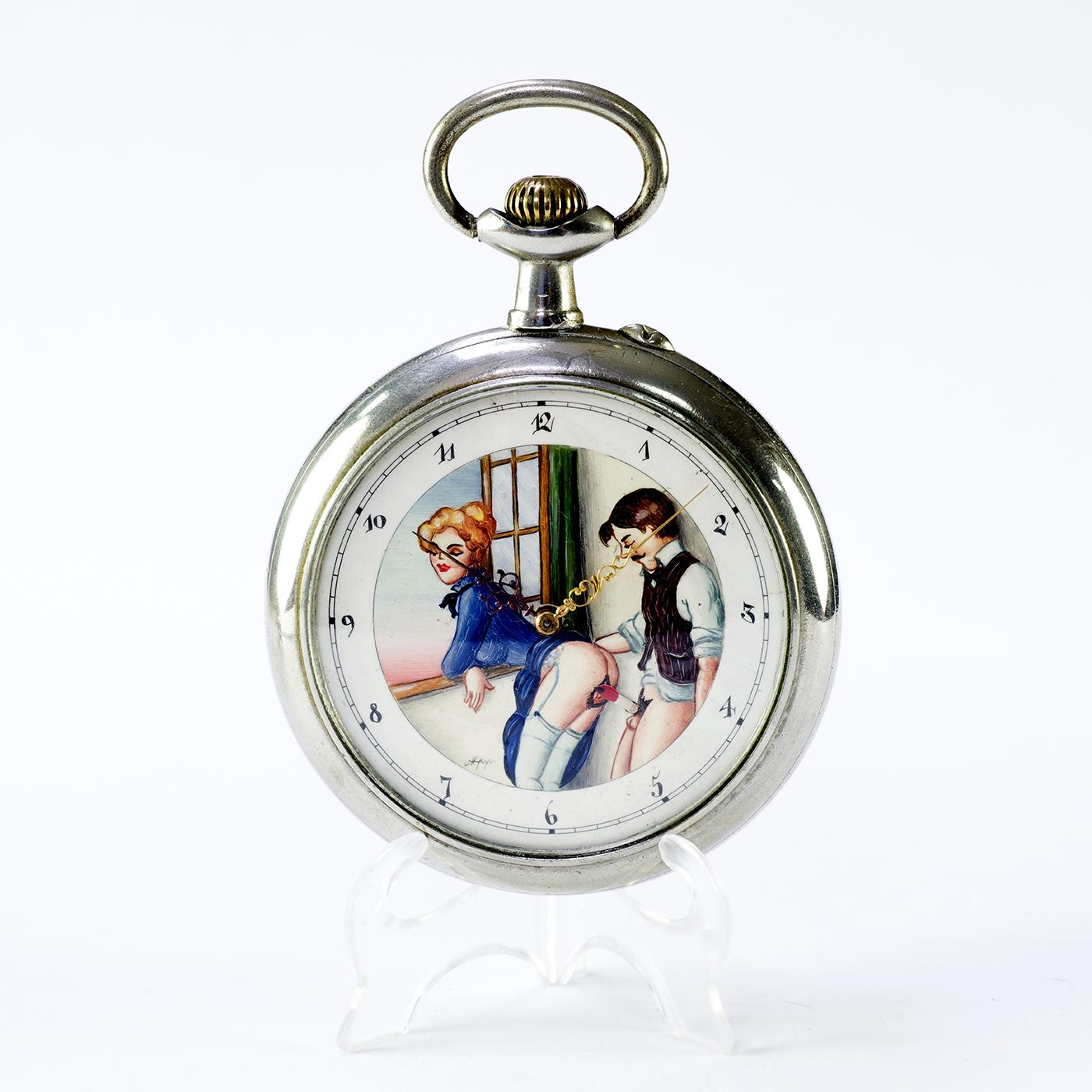 DOXA. Reloj erótico de bolsillo. AUTOMATÓN. Año Ca. 1906. Gran Tamaño.
