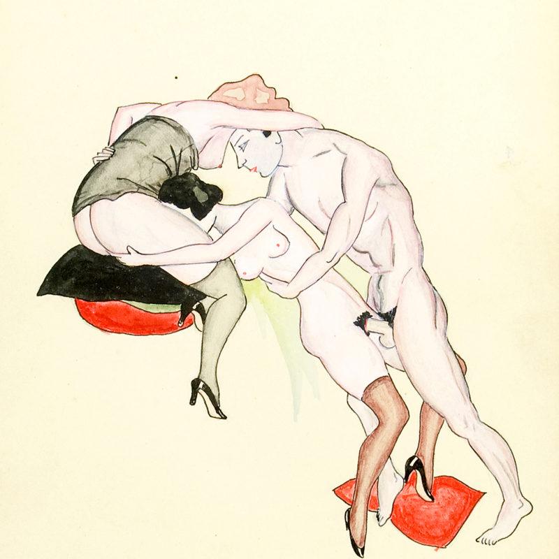 ÉPOCA ART-DECÓ. Dibujo Erótico a Plumilla y Colores.