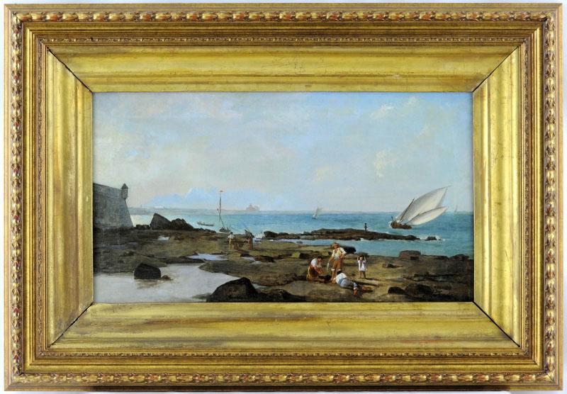 """ESCUELA ITALIANA SIGLO XVIII. Óleo sobre lienzo. """"""""Marina"""""""
