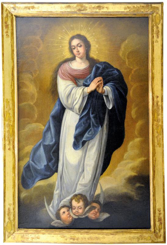 "ESCUELA SEVILLANA Siglo XVII-XVIII. Óleo sobre lienzo. """"Inmaculada"""