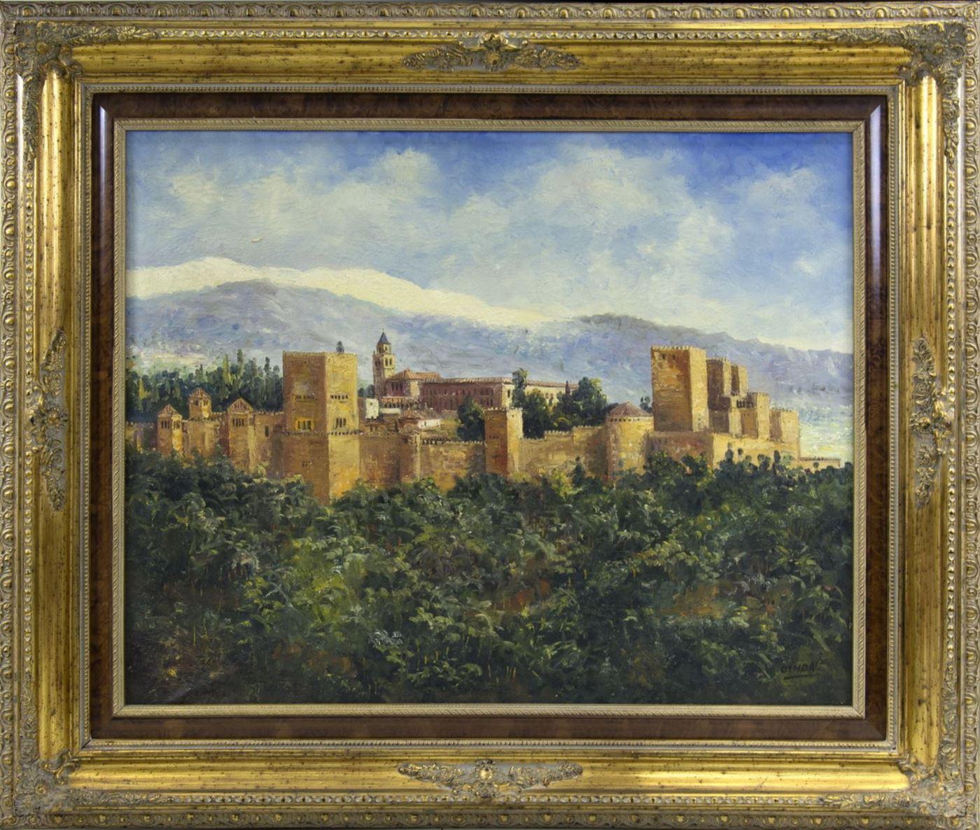 "FLORENCIO OCHOA. Óleo sobre lienzo. ""Vista de La Alhambra""."