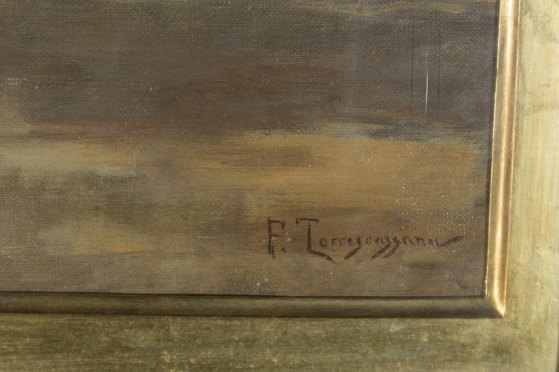 "FRANCESC TORRESCASSANA SALLARÉS. Óleo sobre lienzo. ""Vista de un jardín"""
