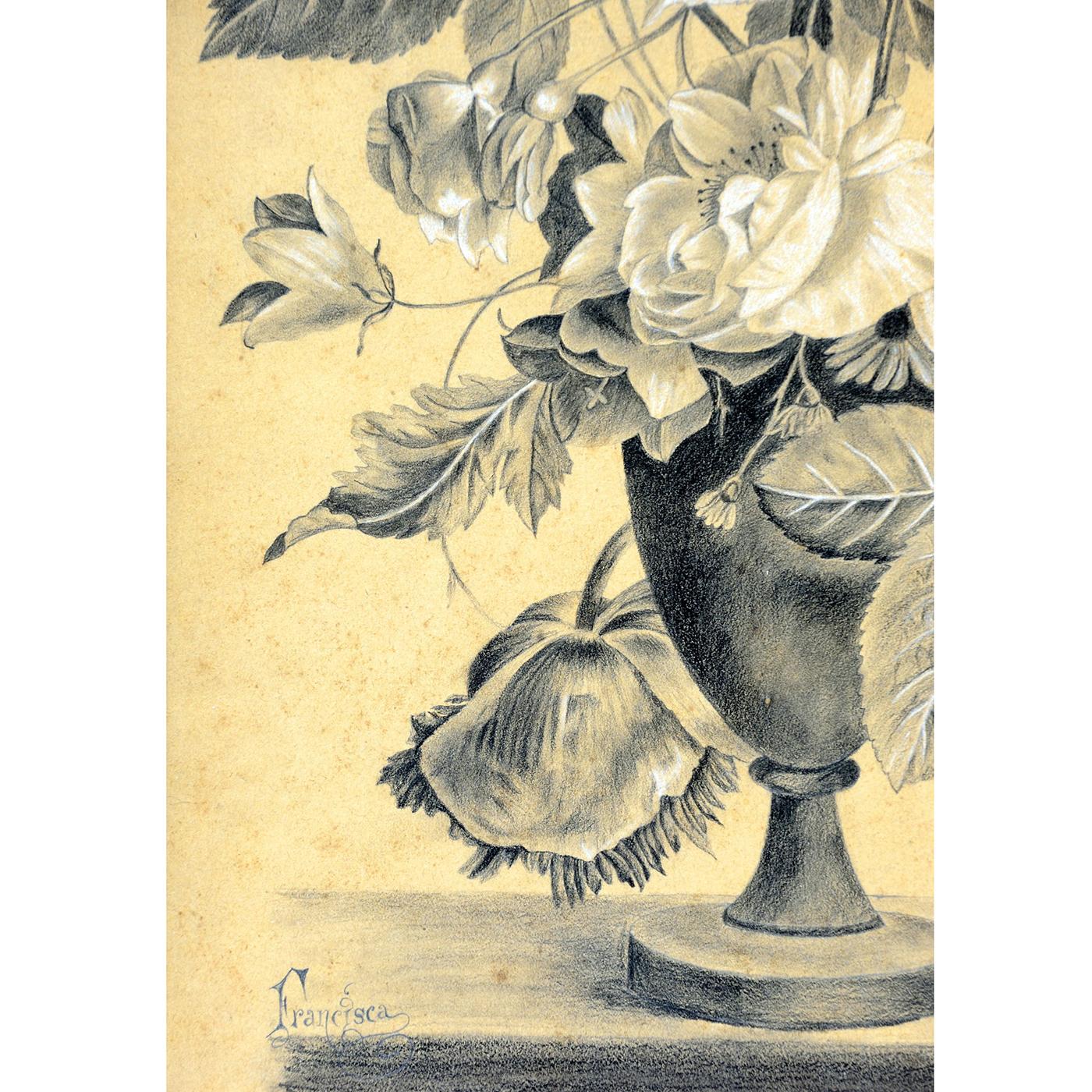 Francisca Ferrer Dibujo A Lápiz Y Carboncillo Sobre Cartón Siglo Xix Xx