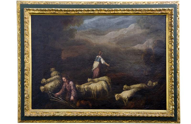 """FRANCISCO DE ANTOLINEZ Y SARABIA. Óleo sobre lienzo. """"""""Escena Bíblica"""""""