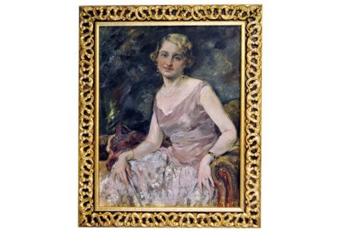 "GONZALO BILBAO MARTÍNEZ. Óleo sobre lienzo. """"Retrato de dama"""