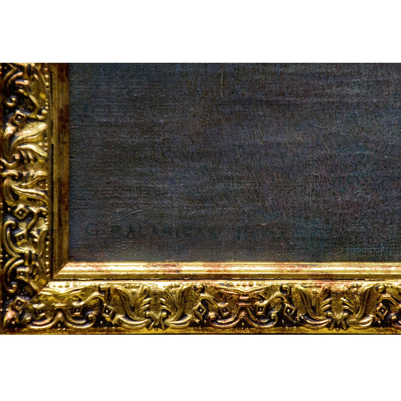 "GUSTAVO BACARISAS. Óleo sobre lienzo. ""Plaza del capitolino""."