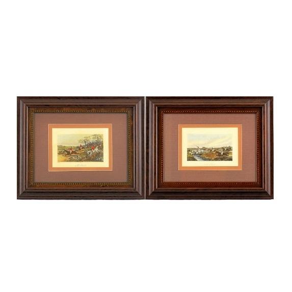 """J. HARRYS & H. ALKEN (England). Pareja de litografías. """""""" Turf y cacería a caballo"""""""""""