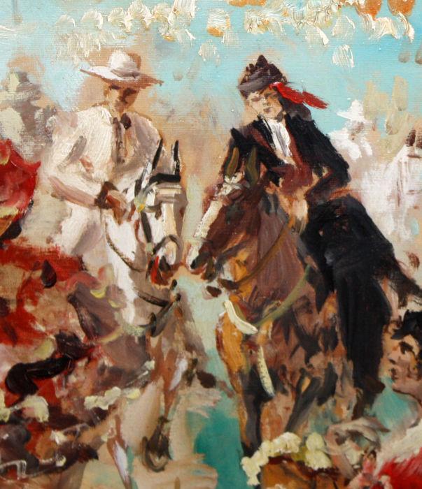 JOAN LLAURADÓ ARENAS. Óleo sobre Lienzo. Caballistas en la Feria.
