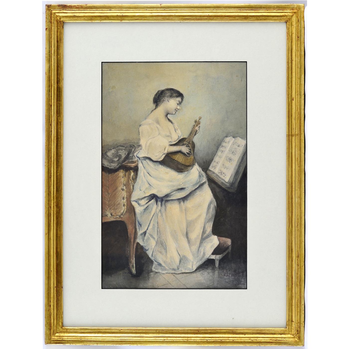 """JOAQUÍN ARAUJO Y RUANO. Acuarela sobre papel. """"""""Dama tocando la Mandolina"""""""
