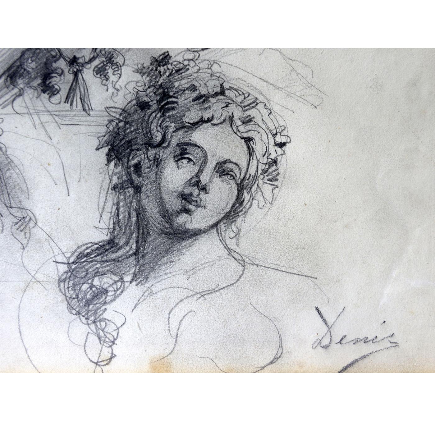 José Denis Belgrano Dibujo A Lápiz Y Carboncillo Estudio De Bustos