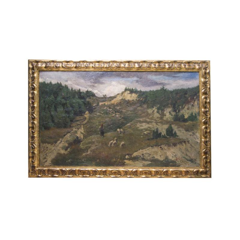 "JOSÉ MORENO CARBONERO. Óleo sobre lienzo. ""Paisaje de montaña, pastora""."