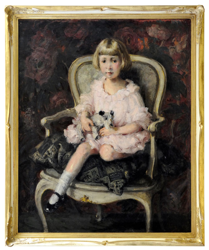 "JOSÉ VILLEGAS CORDERO. Óleo sobre lienzo. """"Retrato de niña"""