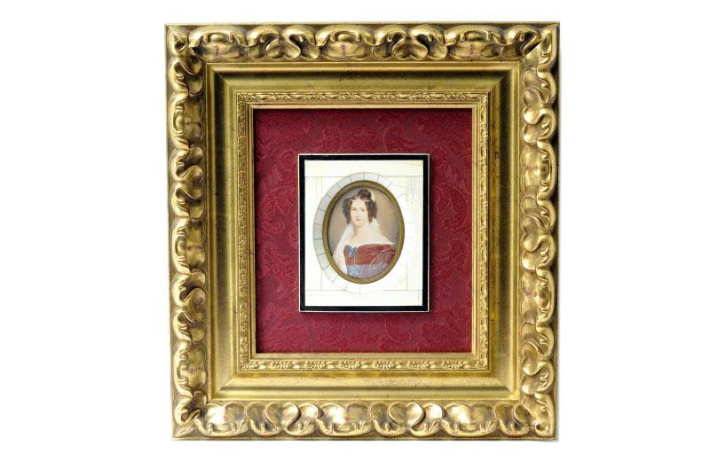 JOSEPH KARL STIELER. Miniatura pintada sobre disco de marfil.