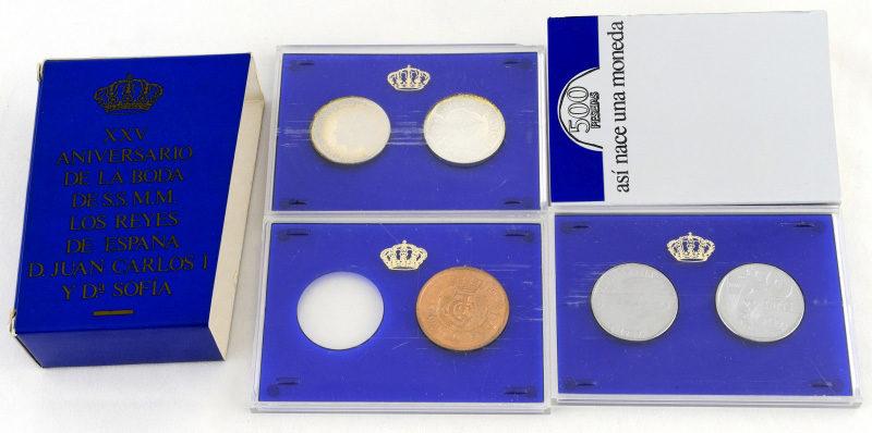 Juego de monedas conmemorativo del 25 aniversario de la Boda Real Española