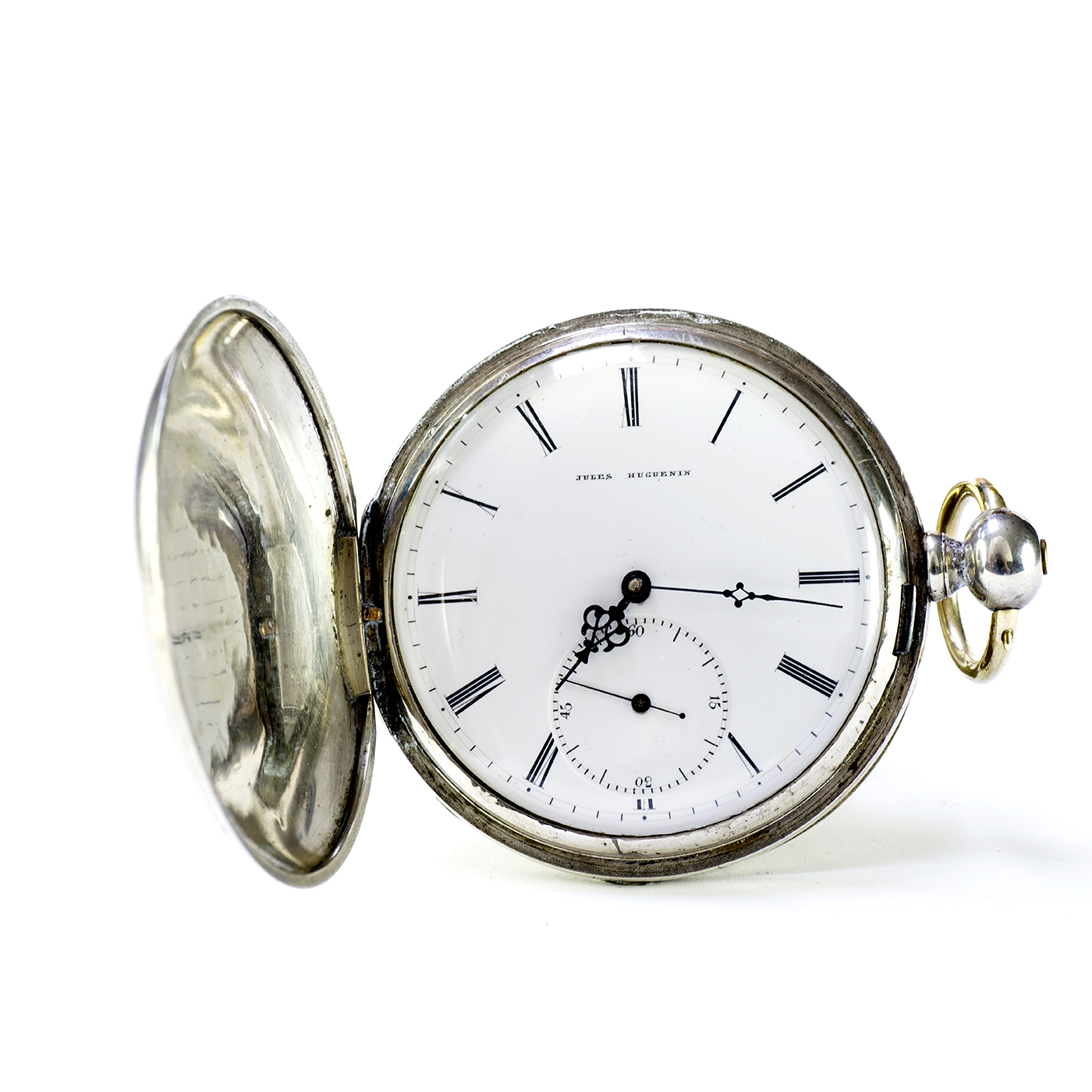 JULES HUGUENIN. Reloj de bolsillo, saboneta. Locle, Suiza, ca. 1840.