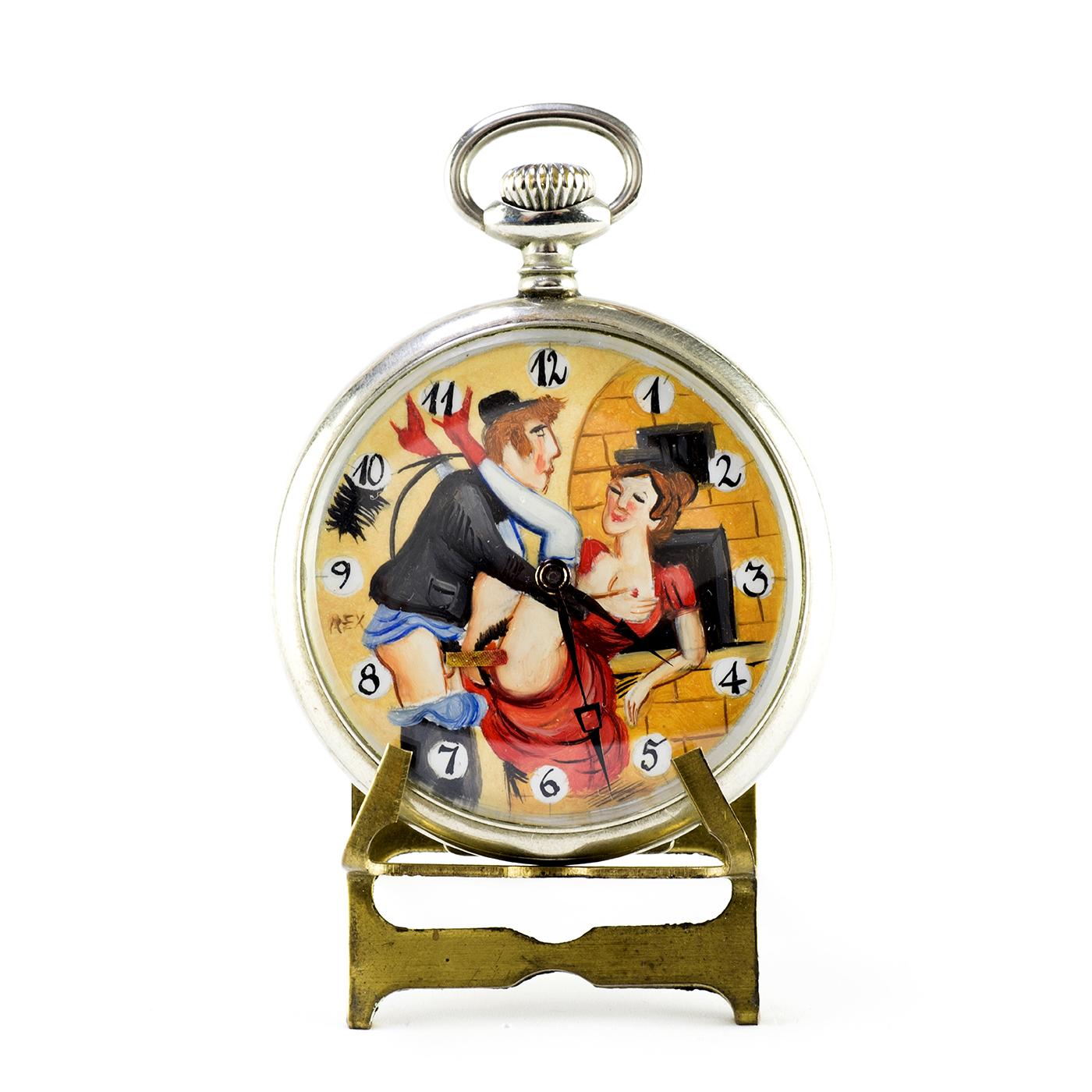 MAESTRÍA. Reloj Erótico de Bolsillo, Lepine, remontoir, Automatón. Ca. 1900