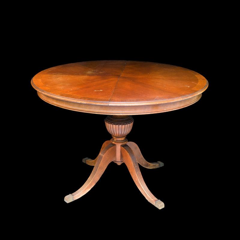 Mesa Comedor Circular y extensible en Caoba. Siglo XIX.