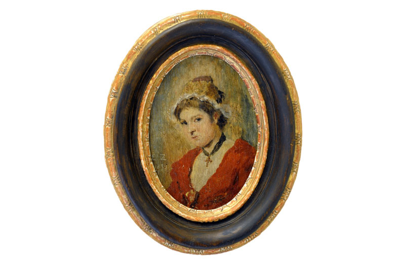 Miniatura pintada sobre disco oval de marfil. Siglo XIX