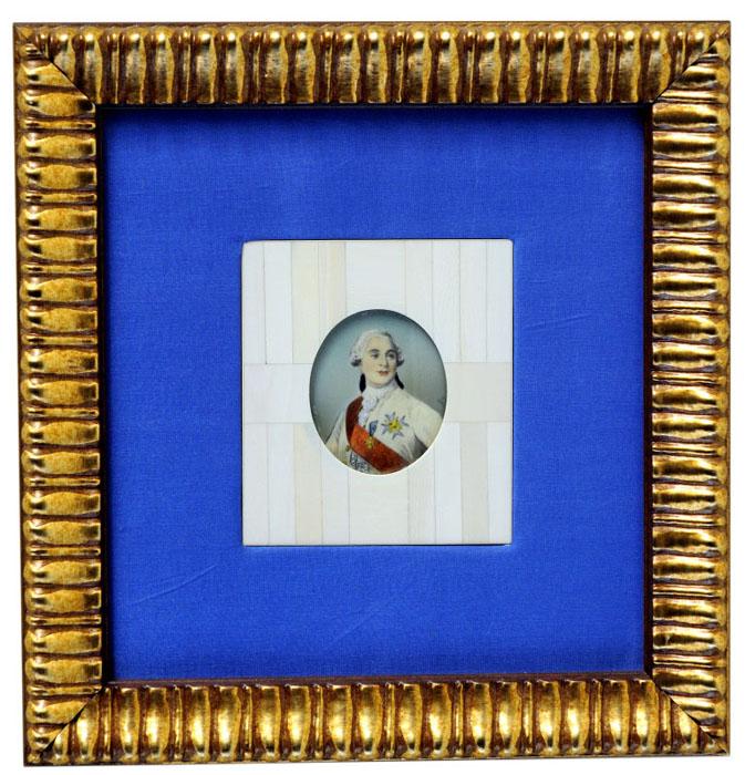"""Miniatura pintada sobre disco oval de marfil. Siglo XIX. Federico """"El Grande"""", Siglo XIX"""