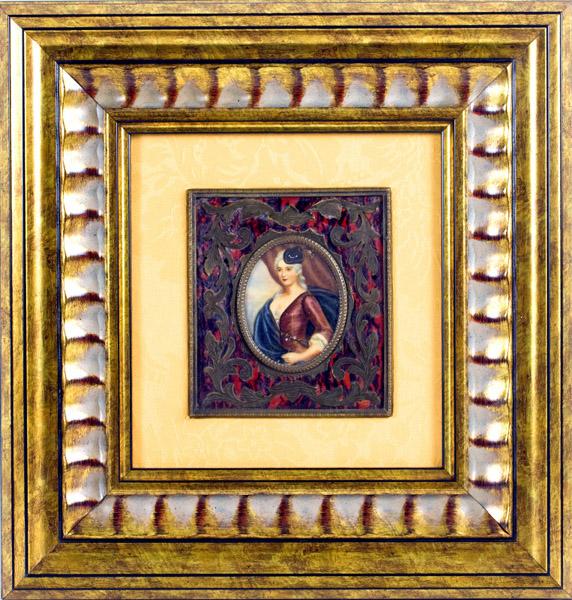 Miniatura sobre placa oval de marfil. Siglo XIX.