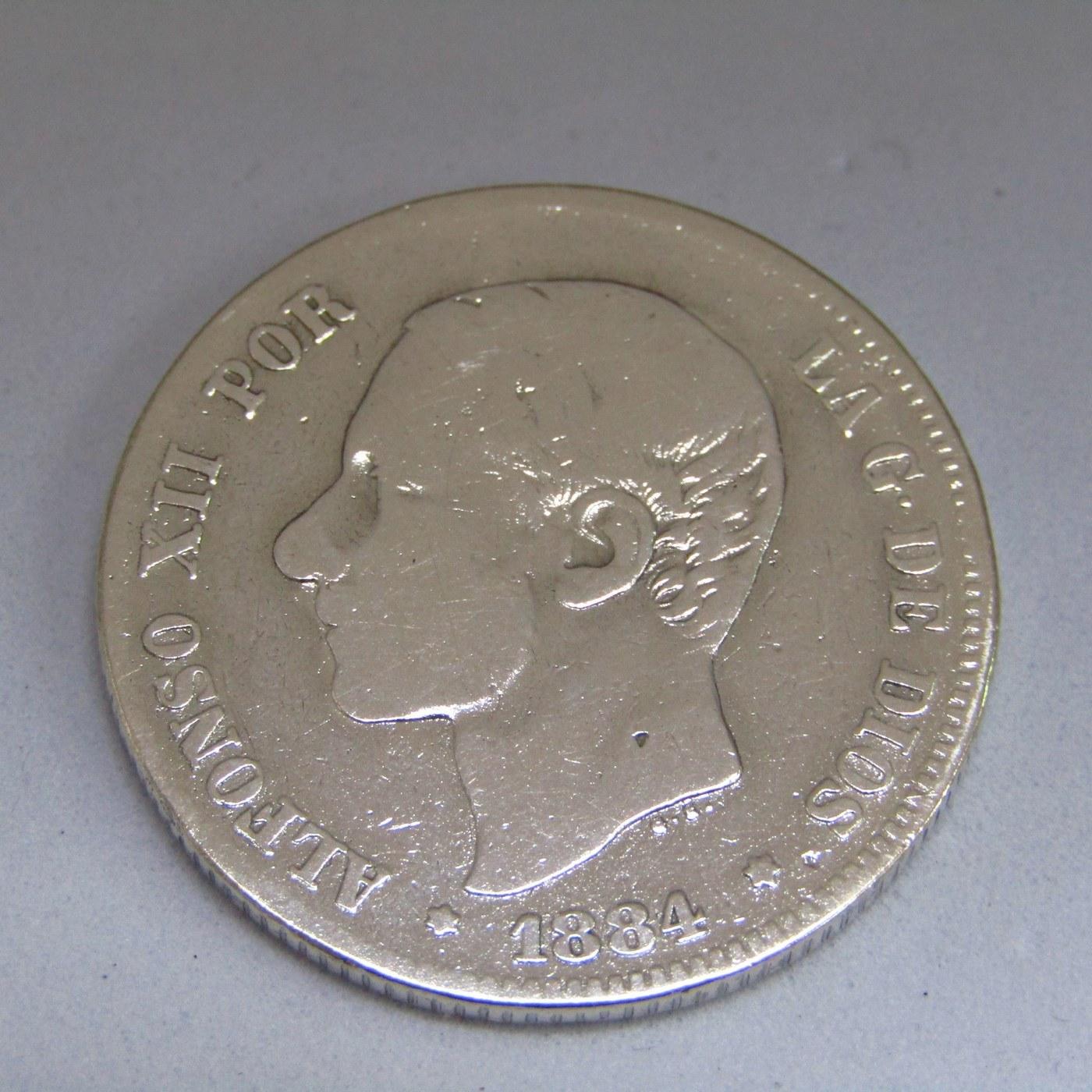 MONEDA DE DOS PESETAS DE PLATA. AÑO 1884 ALFONSO XII. MSM. B.C.