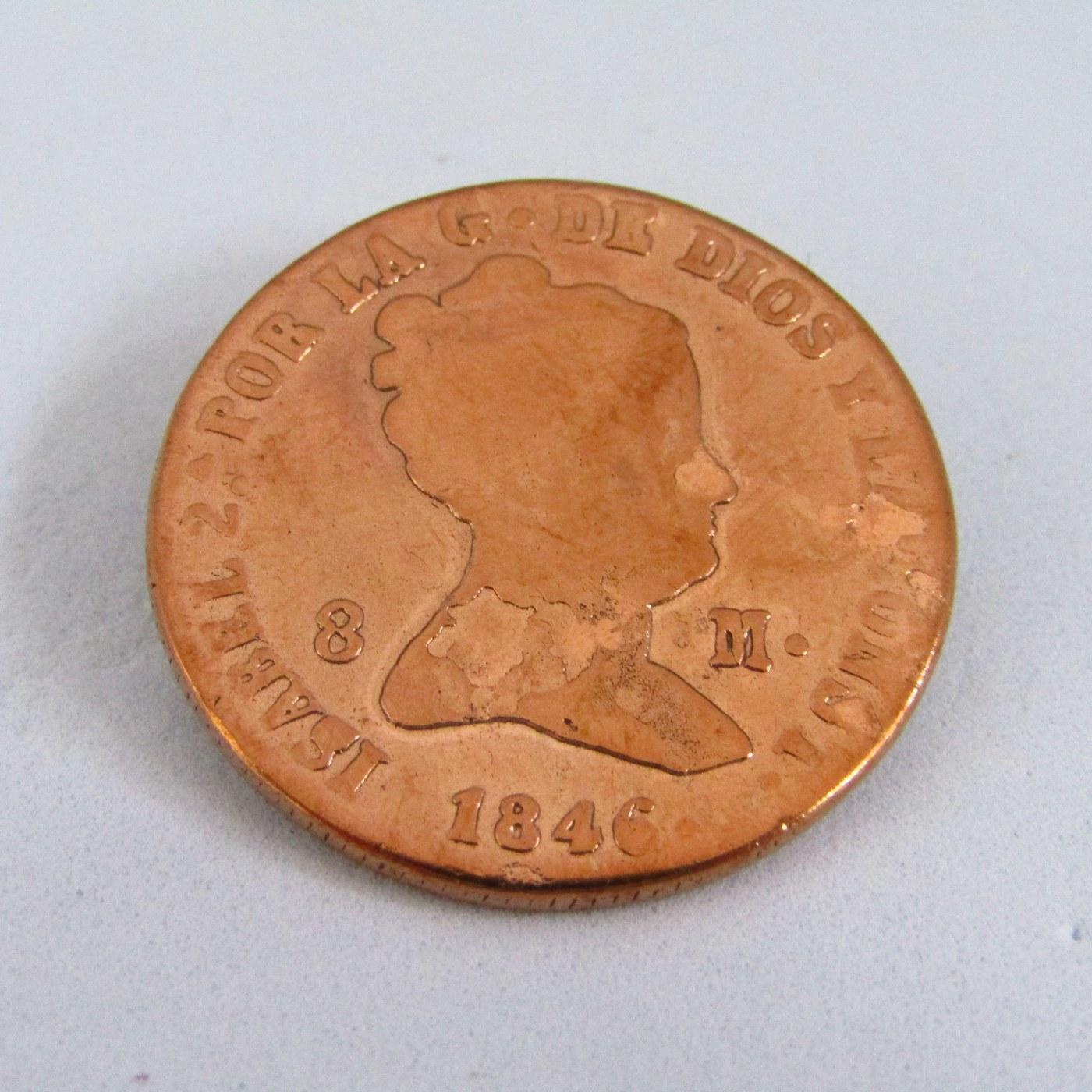 Moneda de ocho maravedies. 1846 ISABELII.COBRE.B.C.
