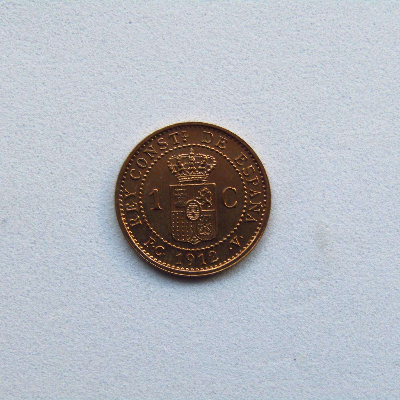 Moneda de UN CENTIMO. COBRE. Año 1912 ALFONSO XIII.(*2) S/C.