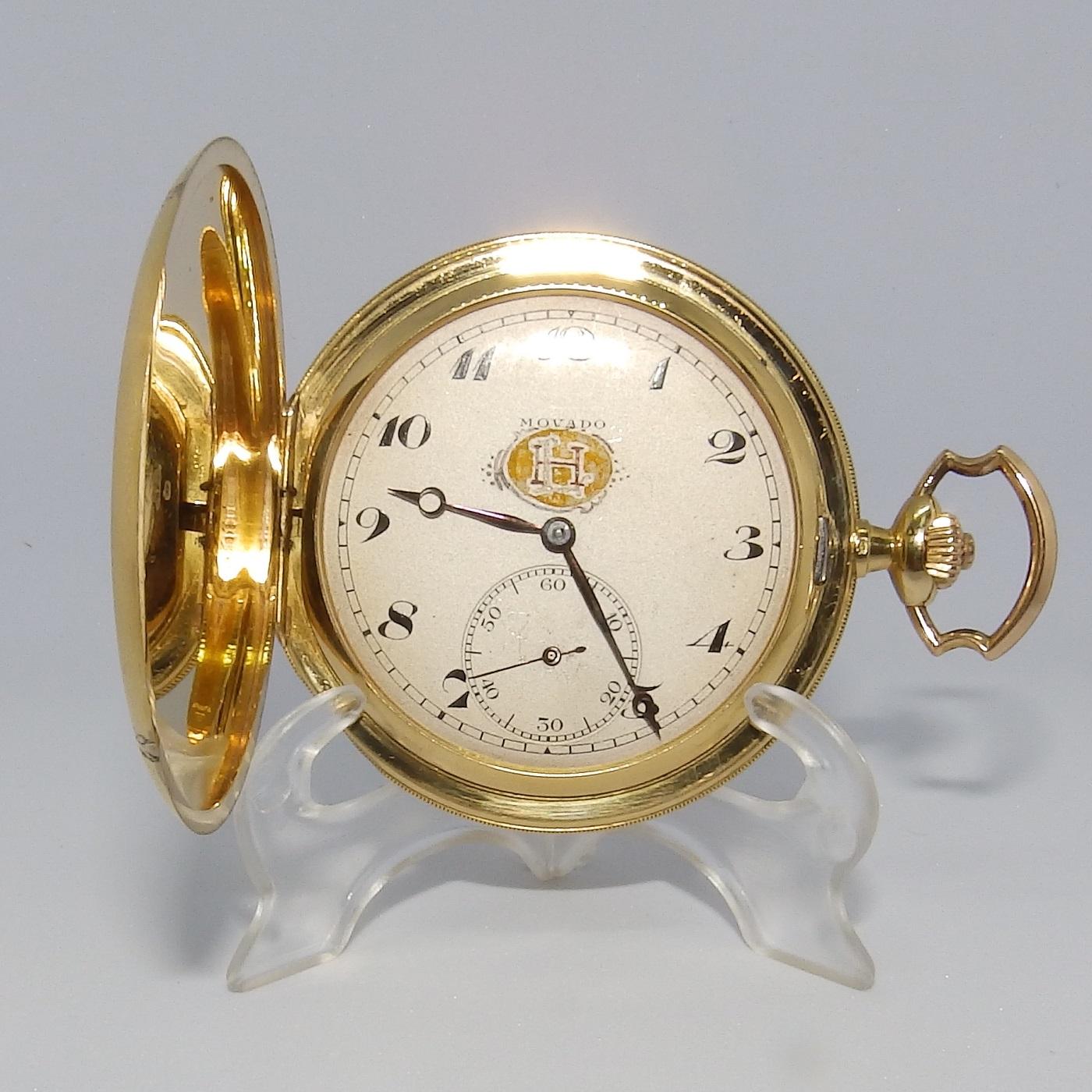 MOVADO. Reloj de Bolsillo para caballero, saboneta y remontoir. Suiza, Ca. 1910.
