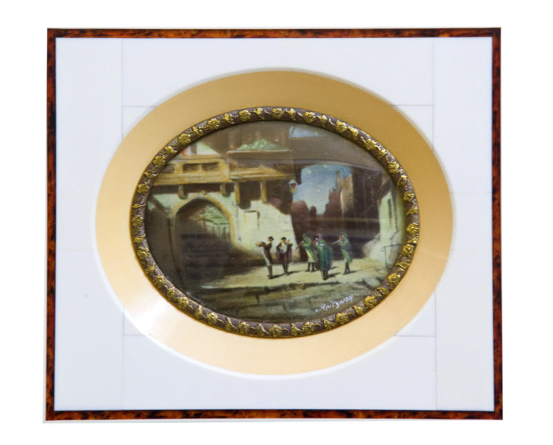 N.SPITZWCY. Miniatura sobre disco oval de marfil.