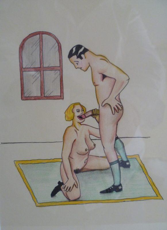 Obra Original. Anónimo. Dibujo Erótico. Escena de Felación. Circa 1950.