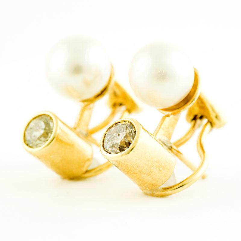 Pendientes en oro con diamantes 1 ct y Perlas de agua salada 10 mm