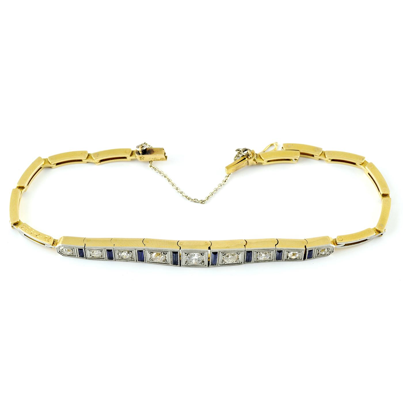 Pulsera de Oro bicolor con Diamantes y Zafiros.