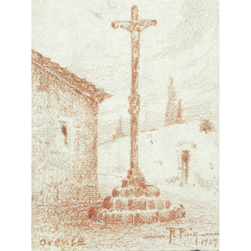 R. PUCH. Dibujo a Sanguina de Cruceiro. Orense, 1929.