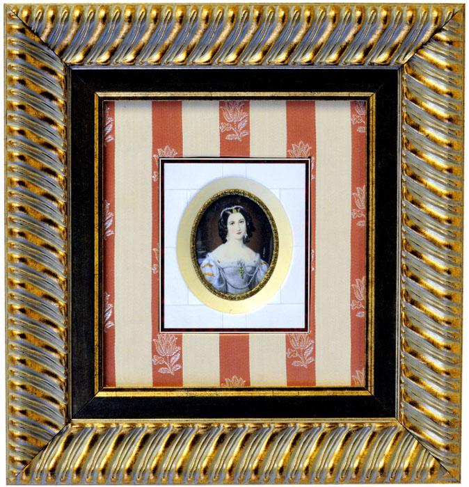 R. STIELER. Miniatura pintada sobre disco oval de marfil. Siglo XIX.