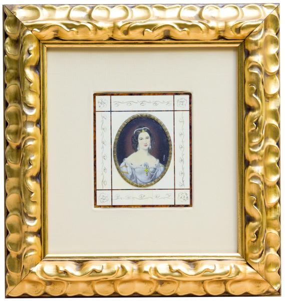 R. STIELER. Miniatura sobre disco oval de marfil, siglo XIX.