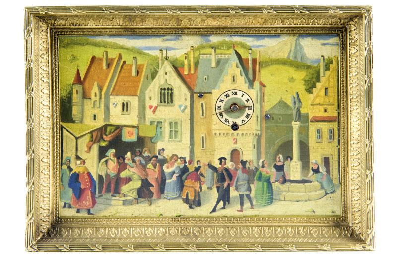 Reloj de Sobremesa-Colgar, integrado en óleo sobre placa de cobre. Manufactura Austriaco. Siglo XIX