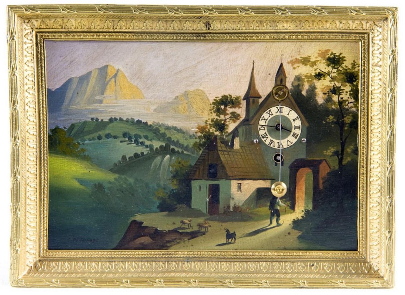 Reloj de Sobremesa, integrado en óleo sobre placa de cobre. Manufactura Austriaco. Siglo XIX