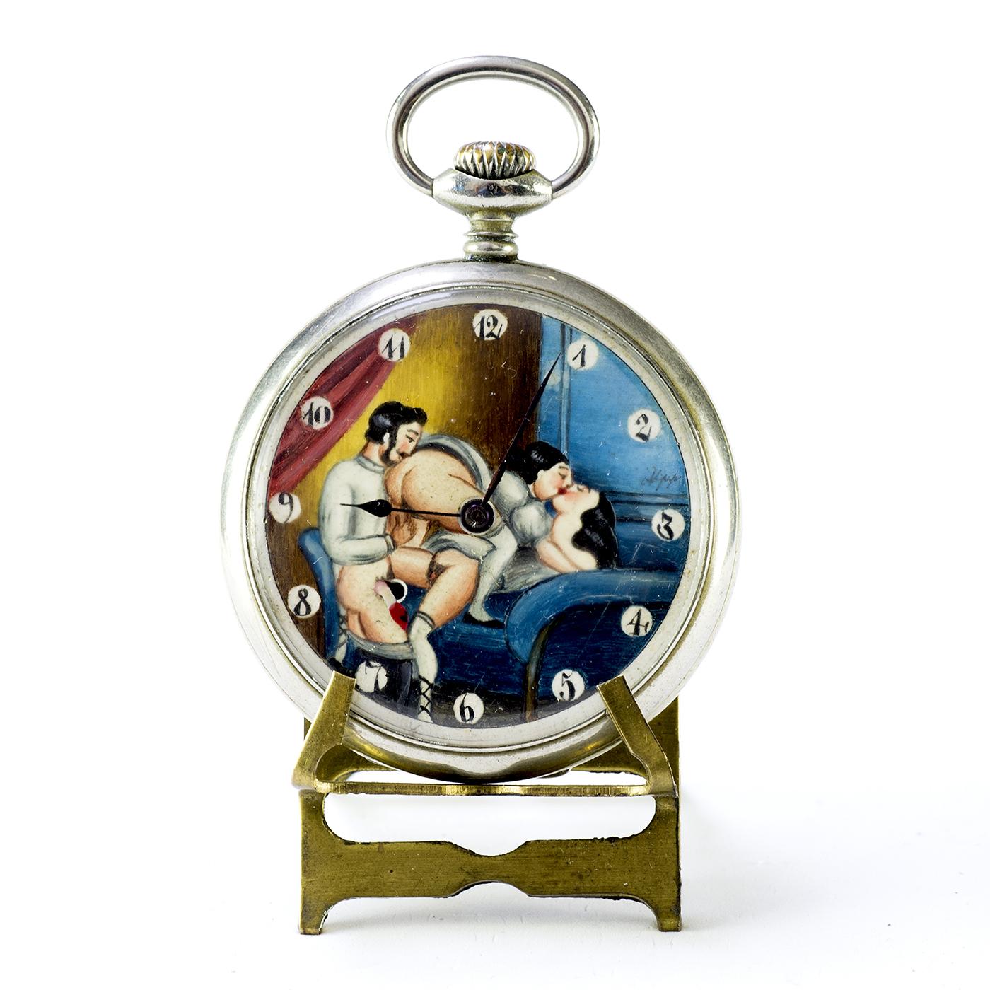 Reloj Suizo de bolsillo, Erótico Automatón,Lepine y remontoir. Circa 1900