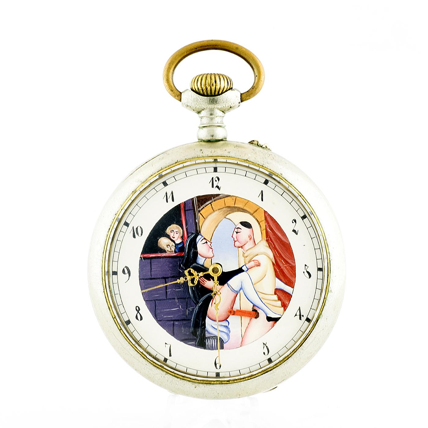 Reloj Suizo de Bolsillo, Lepine, Remontoir, Erótico, Automatón. Suiza, ca. 1900