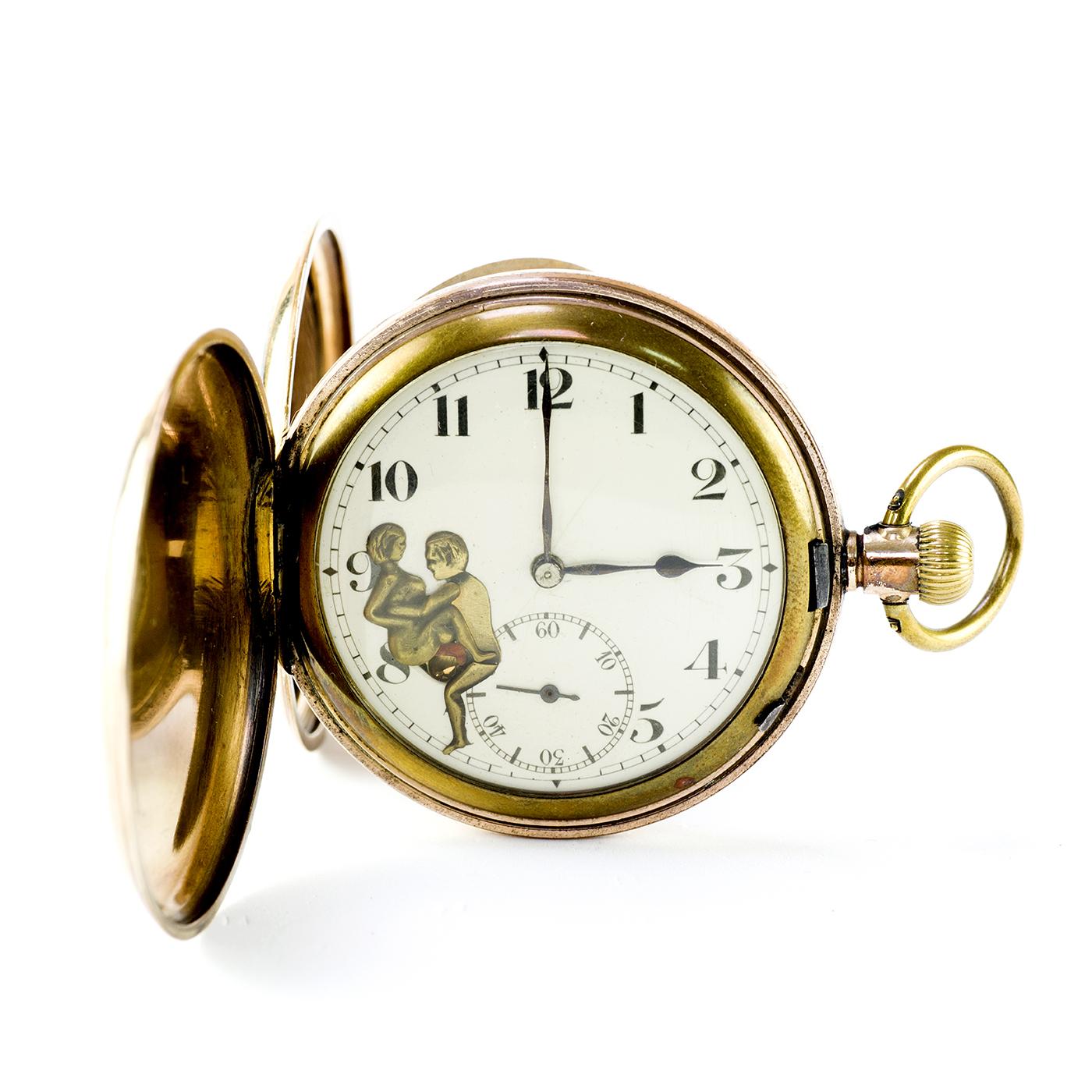Reloj Suizo de Bolsillo, Saboneta, remontoir, Erótico Automatón. Ca. 1900