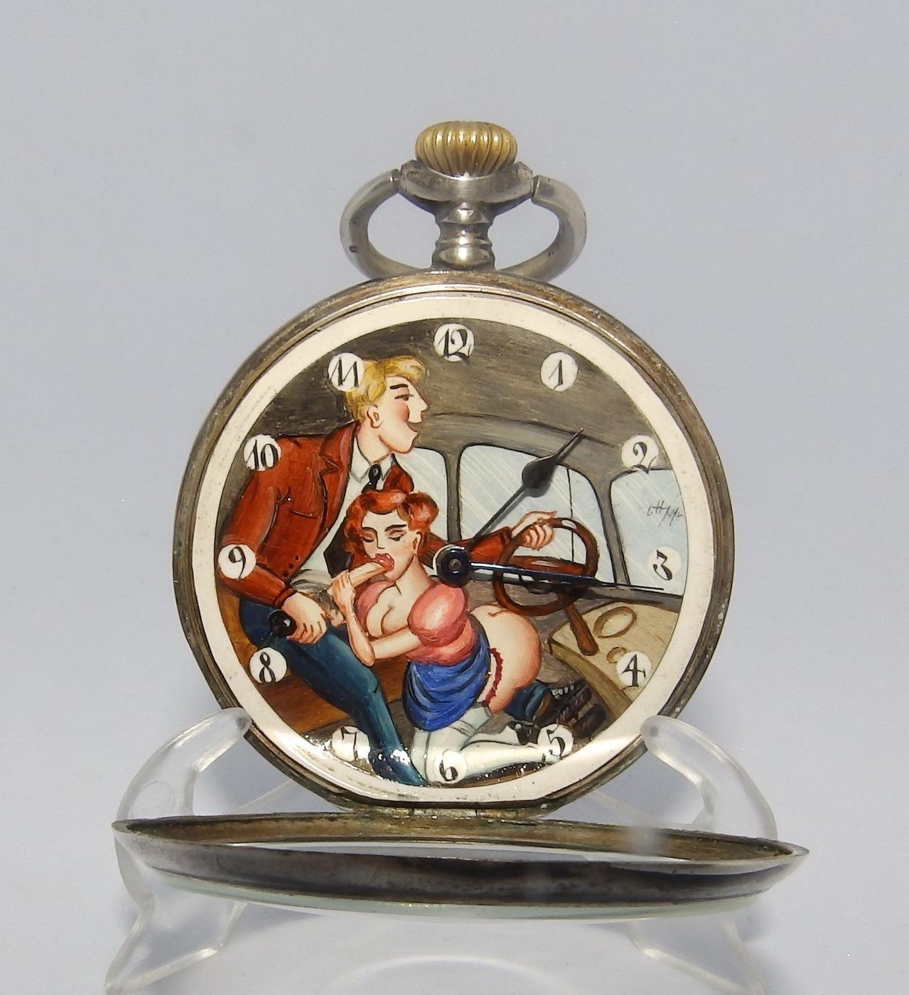 Reloj Suizo Erótico de Bolsillo, Lepine y remontoir. Ca. 1925