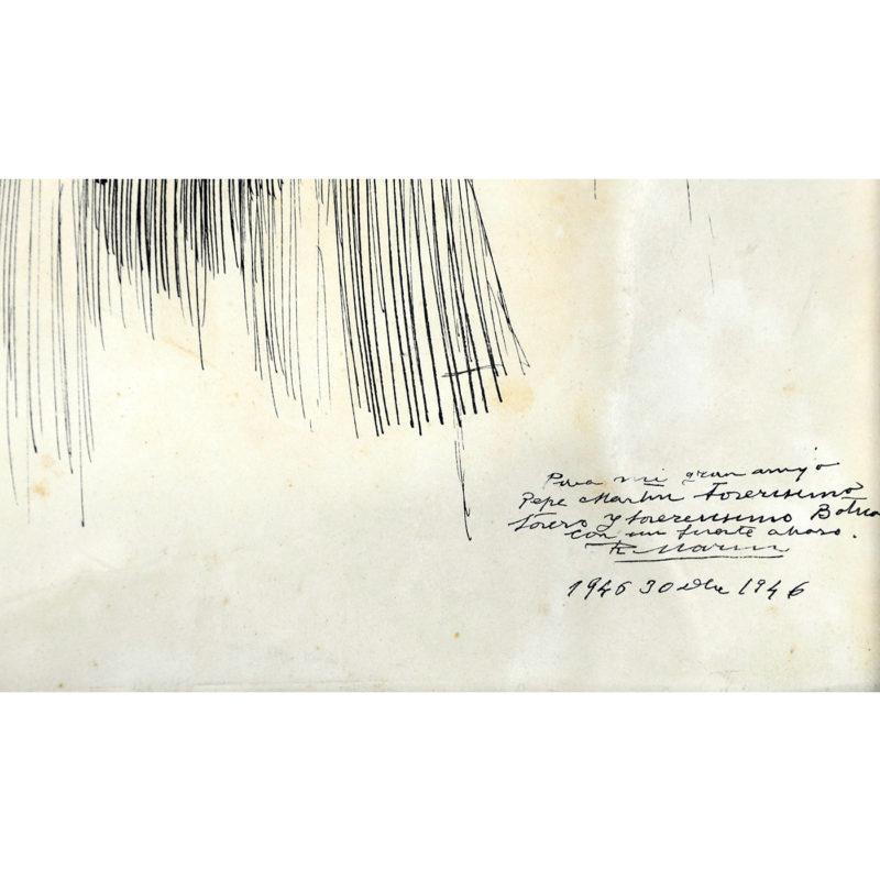 """RICARDO MARÍN LLOBET. Dibujo a Plumilla. """"""""Escena galante en verbena Madrileña. (Una morena y una rubia…)"""""""""""